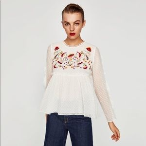 New Zara Embroidered White Blouse